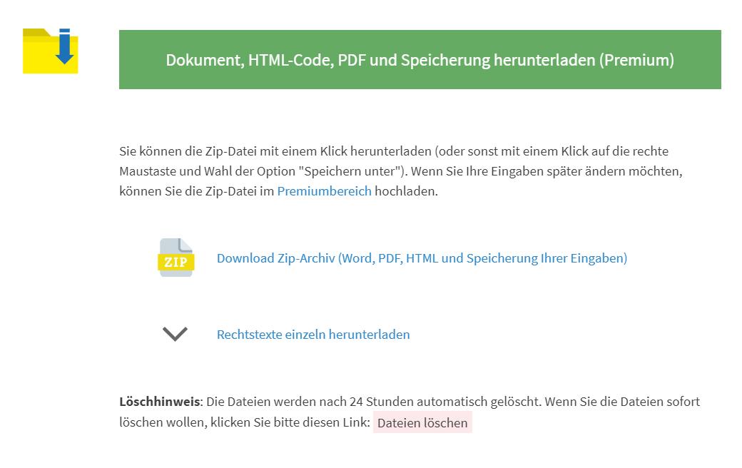 https://datenschutz-generator.de - Speichervorgang - Download