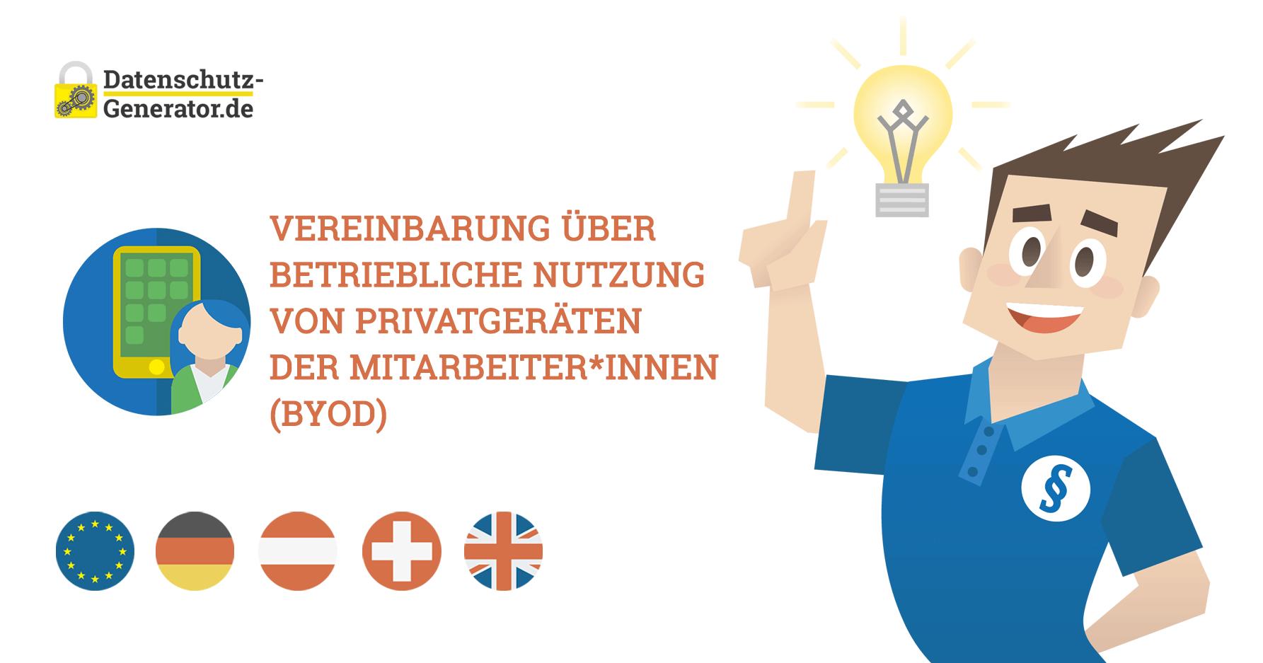 Neuer Generator: Vereinbarung über betriebliche Nutzung von Privatgeräten der Mitarbeiter*innen (BYOD)
