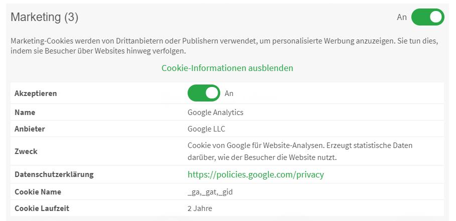 Die vom EuGH verlangten Informationen sollten Websitebesuchern am besten schon in den Detailhinweisen des Cookie-Opt-In-Banners bereitgestellt werden.