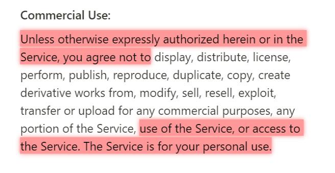 """Der Hinweis auf """"personal use"""" spricht dafür, dass eine geschäftliche Nutzung des Dienstes, um sich mit ihm vertraut zu machen oder dem persönlichen Austausch (auch im geschäftlichen Kontext) dienen, erlaubt ist oder zumindest geduldet wird."""