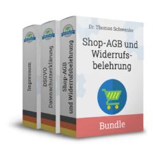 Onlineshop-AGB mit Widerrufsbelehrung, Datenschutzerklärung und Impressum (Deutsch)