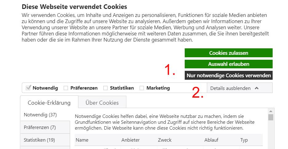 """(1.) Die Consent-Management-Plattform """"Cookiebot"""" enthält nunmehr eine """"Auswahl""""-Schaltfläche in der gleichen Farbe, wie die Schaltfläche, mit der Cookies zugelassen werden (wobei der Begriff """"Alle Cookies zulassen"""" rechtssicherer wäre). Wie vom LG Rostock gefordert ist die Schaltfläche """"Nur notwendiges Cookies verwenden"""" als klickbare Schaltfläche zu erkennen. (2.) Ferner können die Beschreibungen zu den einzelnen Cookie-Gruppen direkt per Drop-Menü aufgerufen werden. Nach Ansicht des Verfassers genügen diese Veränderungen den Anforderungen des LG Rostock. Dennoch ist vorstellbar, dass das Gericht die Ausklappfunktion für """"nicht eindeutig erkennbar"""" halten und eine eindeutig sprechenden """"Ablehnen""""-Schaltfläche fordern würde."""