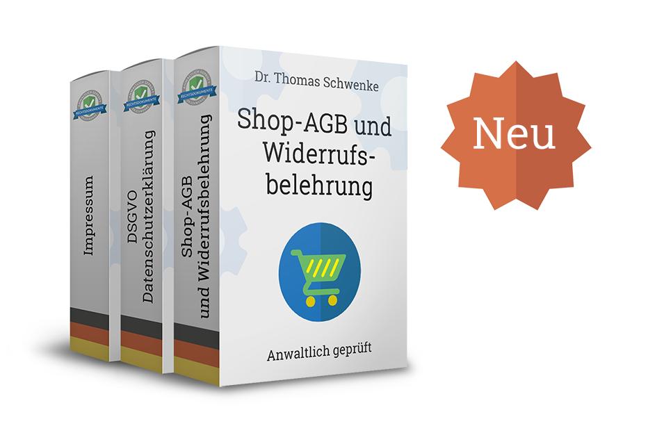 Online-Shop AGB mit Widerrufsbelehrung, Datenschutzerklärung und Impressum