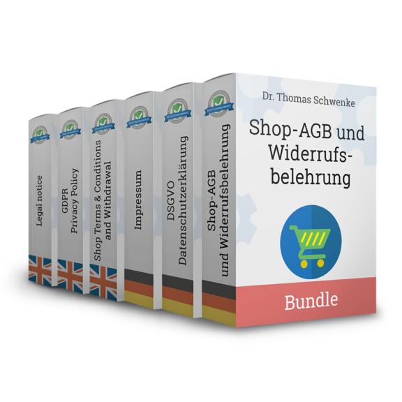 Onlineshop-AGB mit Widerrufsbelehrung, Datenschutzerklärung und Impressum (Deutsch + Englisch)