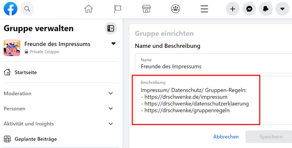 """Geschäftliche Facebook-Gruppen bedürfen eines Impressums und können es in der Beschreibung aufnehmen (in dem Beispiel mit Hilfe sprechender, also von sich aus verständlicher Links, z.B. """"/impressum"""")."""