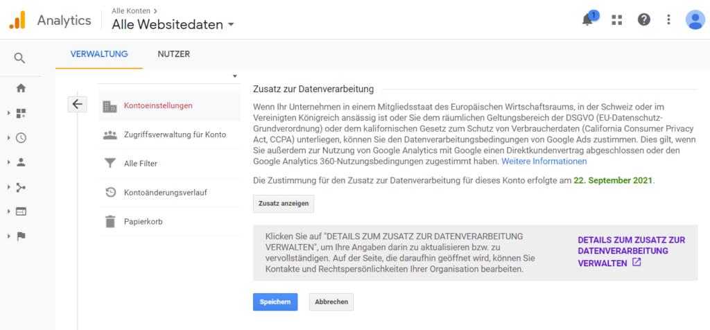 Sie sollten den neuen Datenverarbeitungsbedingungen möglichst schon zum 27. September zustimmen (Beispiel der Zustimmung in dem Verwaltungsbereich von Google Analytics).